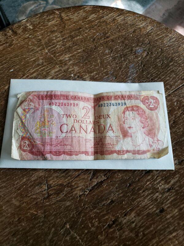 Vintage Canadian Money $2 dollar bill circulated