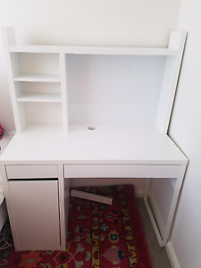 White micke ikea desk and add-on high unit Darling Point Eastern Suburbs Preview