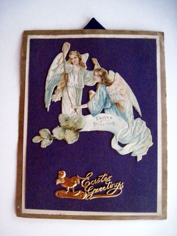 "1913 Home Made Easter Card w/ Angels On It Saying ""Easter Greetings"" *"
