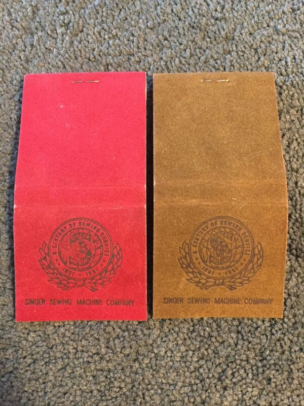 Singer Sewing Machine 1951 Anniversary Velvet Red And Green Match Books