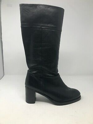 SARTORI Gold Black Tall Leather Boots Italian Made Size 41 - 10 Pull On Style
