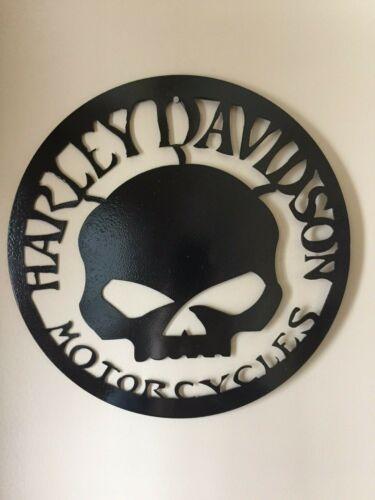 12 inch round Harley Davidson Skull Metal Wall Art
