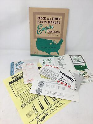 Vintage 1961 Empire Clock Co. Clock & Timer Parts Manual & Advertising brochures