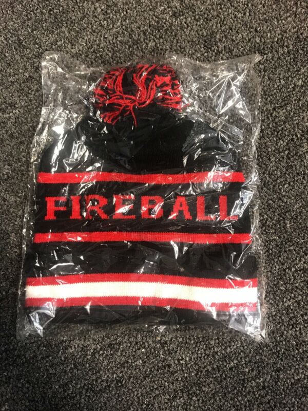 NEW: Red and Black Fireball beanie winter hat: BRAND NEW in packaging!
