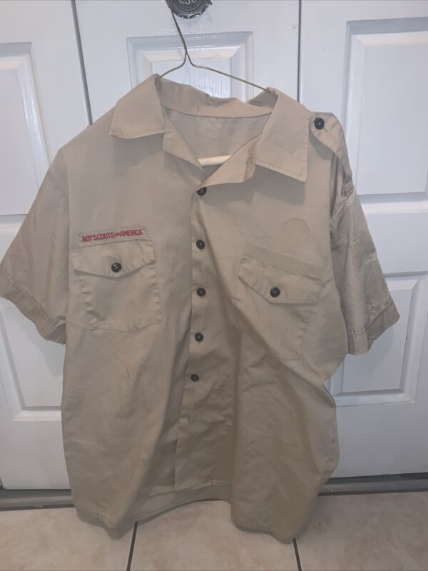 Boy Scout BSA UNIFORM SHIRT  Men's  Medium Short Sleeve Tan L34