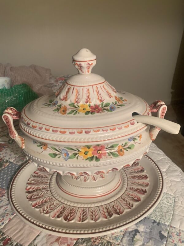 Vintage Large Soup Tureen with Ladle