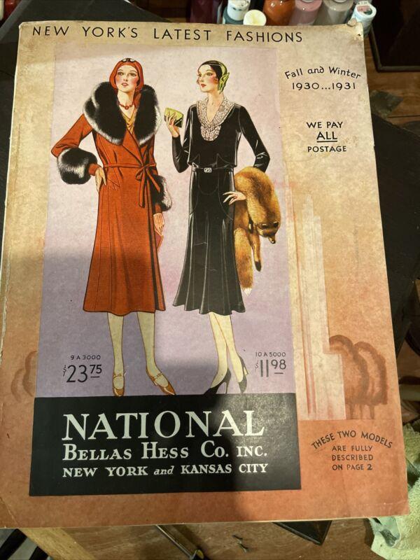 1930-31 National Bellas Hess Fall Winter Style Book Fashion Catalog Vintage BIG
