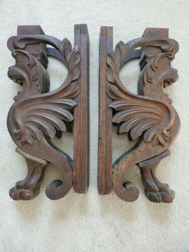Pair of Antique Wood Griffin Lion Corbel Bracket Architectural Salvage