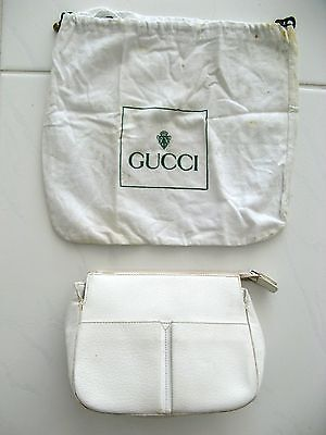 GUCCI HANDBAG WHITE LEATHER CLUTCH ZIPPER TOP WITH DUST BAG ITALY Vintage 1970's