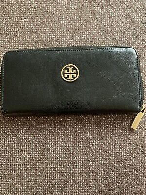 TORY BURCH Black Leather Zip Around Continental Wallet or Clutch Bag