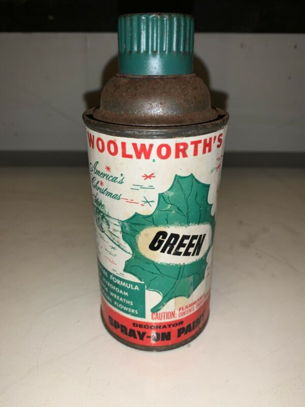 Antique Vintage Woolworth Christmas Store Gold Spray On Paint  Papper Label 1962