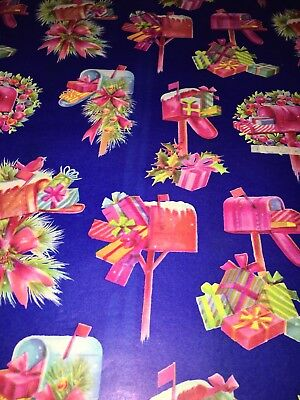 VTG CHRISTMAS WRAPPING PAPER GIFT WRAP 1960  WREATH MAILBOX PRESENTS GIFTS NOS