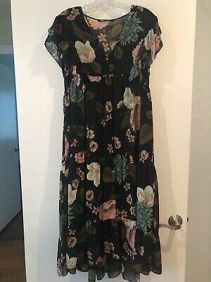 ZARA Small XS Floral FLOWY Dress SUMMER 2019 Black Slip