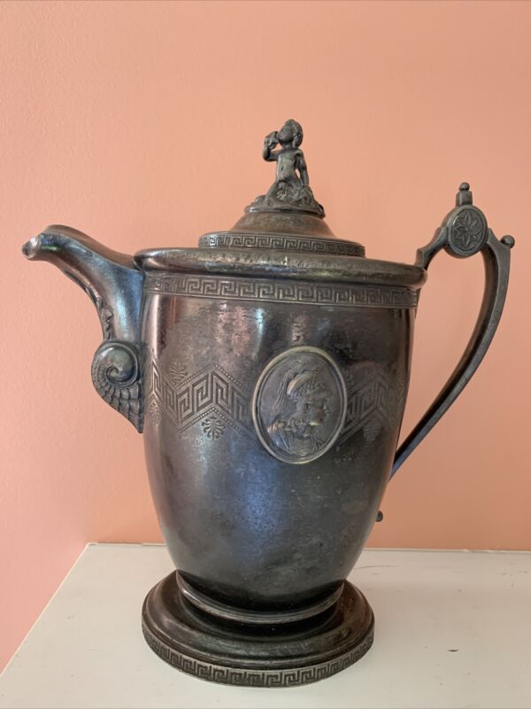 Antique 1854 Redfield & Rice New York Stimpson Patent Silver Double Wall Pitcher