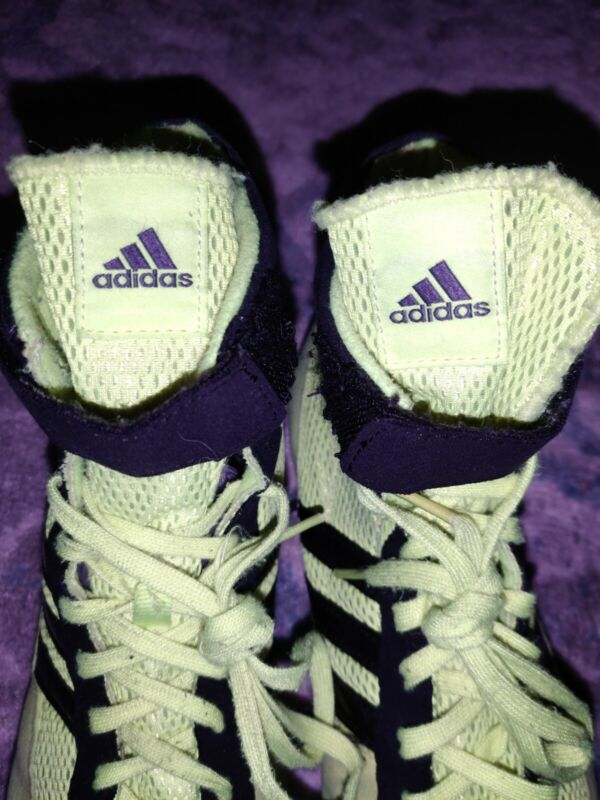 RARE Adidas Wrestling Shoes Mat MMA MARTIAL ARTS UFC MENS 9 NEON GREEN/YELLOW