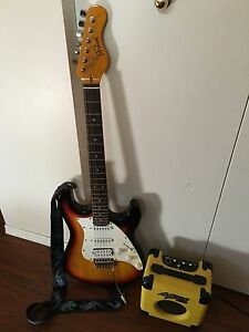 Electric guitar and practice amp