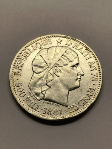1881 Haiti 1 Gourde Silver XF++ #14919