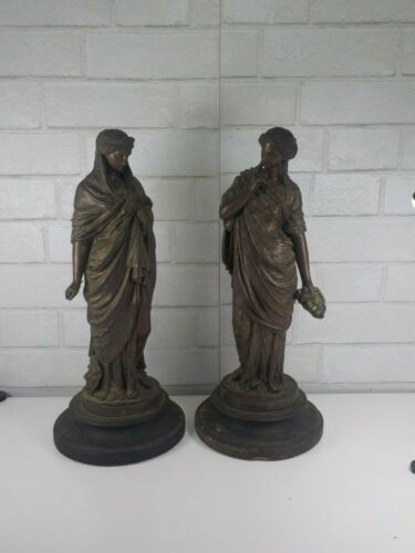"""A Pair of Antique Comedy and Tragedy Bronze Statues 16"""" Tall"""