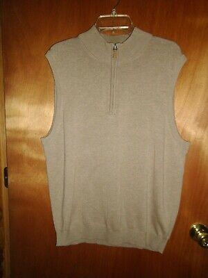 Roundtree & Yorke Men's 1/4 Zip Sweater Vest Sz L Tan Heather NWT