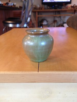Small Arts And Crafts Style Mat Green Glaze Pottery Vase Signed