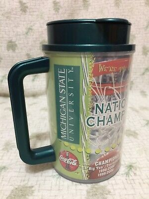 MICHIGAN STATE Basketball/Football Plastic Mug Cup 2000 National Champions MSU