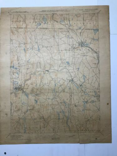 Antique Original 1917 USGS Map Winchendon Sheet (Mass/New Hampshire)