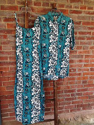 Vintage Hawaiian Original His & Hers Dress & Shirt Couples Men's Women's Pair
