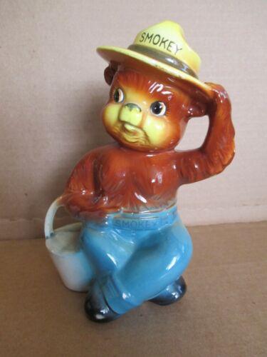 Vintage Ceramic Figural Smokey The Bear Coin Piggy Bank