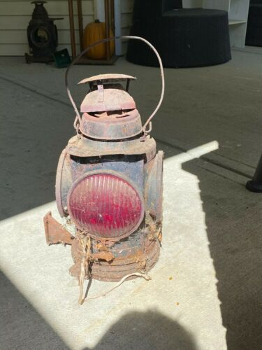 NYCS Handlan St Louis railroad signal lamp w full base bracket orig condition