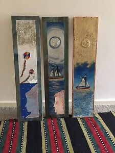 3 paintings on wood Hamilton Newcastle Area Preview