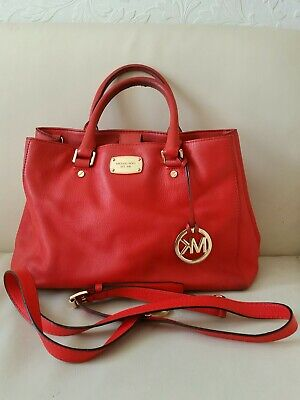 Michael Kors Bedford Calf Leather Tote Shoulder Bag Red Medium