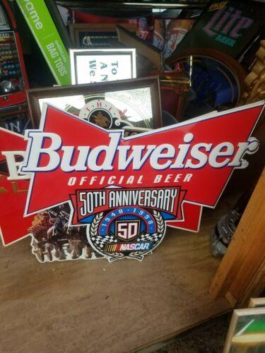 BIG Budweiser  50th Anniversary Embossed NASCAR Metal / Tin Sign 1948 - 1998