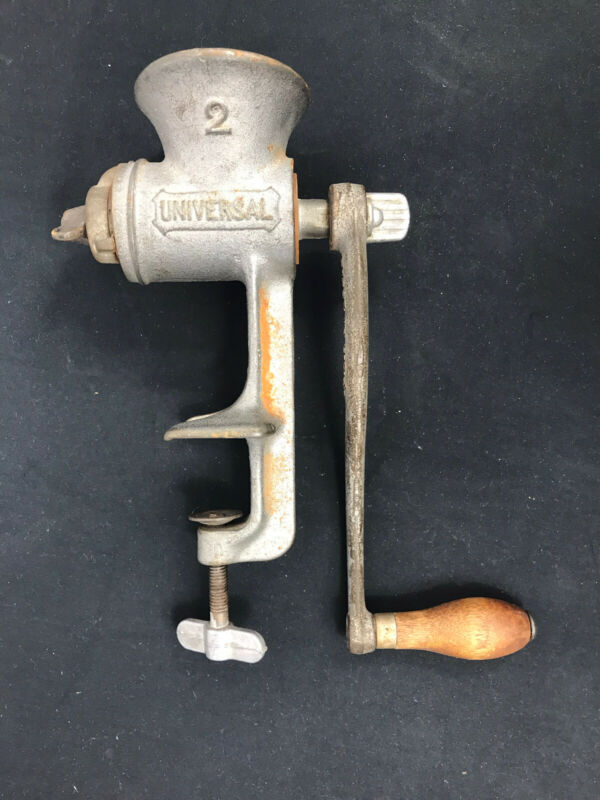 Vintage Universal 2 Cast Iron Food Meat Grinder Wood Handle Crank Counter Clamp