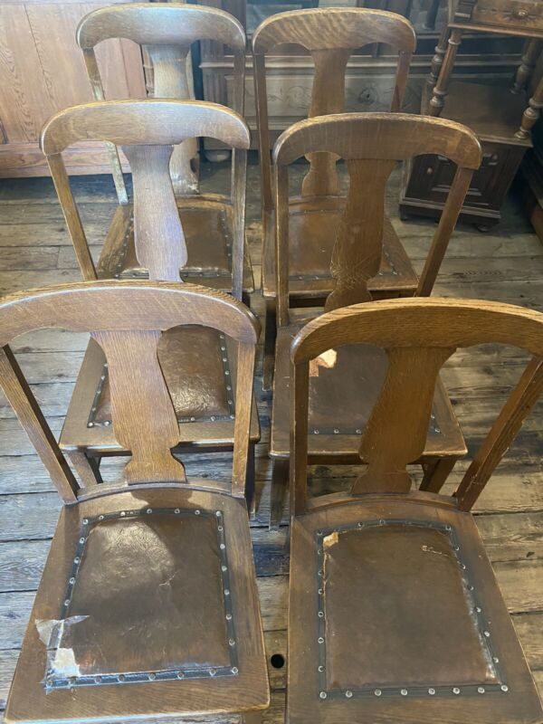 Antique tiger Oak T Back Leather Seat Dining Side Chairs, Set of 6