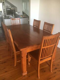 6 seater timber dining table and chairs