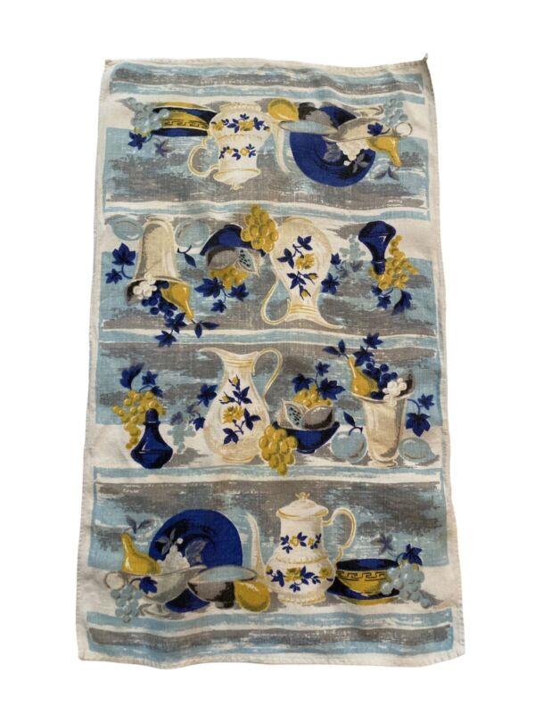 Vintage Linen Tea Towel Kitchen Fruit Theme  Blue Yellow Very Good Condition