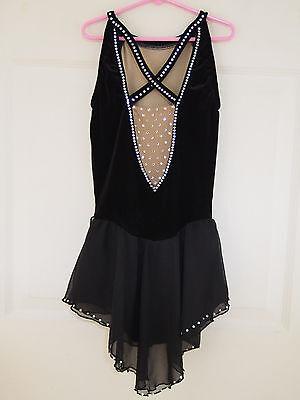 SHARENE! Figure Skating Competition Dress Black w/ Swarovski Crystals Ladies XS