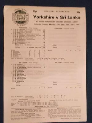 Yorkshire v Sri Lanka July 1991 Scorecard. Played at Headingley.