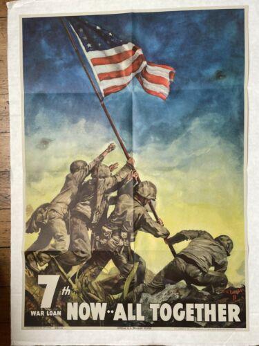 Original 1945 WWII Poster- U.S. Marines Raising Flag at Iwo Jima- 7th War Loan