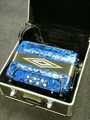 Rossetti 34 Button Accordion 12 Bass 3 Switches GCF Blue ** MINT CONDITION **