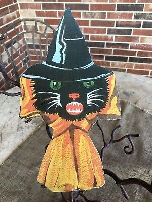 Repro 1920's Vintage Style Cat in Witch Hat Halloween Cardstock Decoration,10