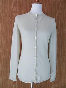 Escada Cardigan Sweater Size 36 Long Sleeve Cashmere Silk Light Green Italy