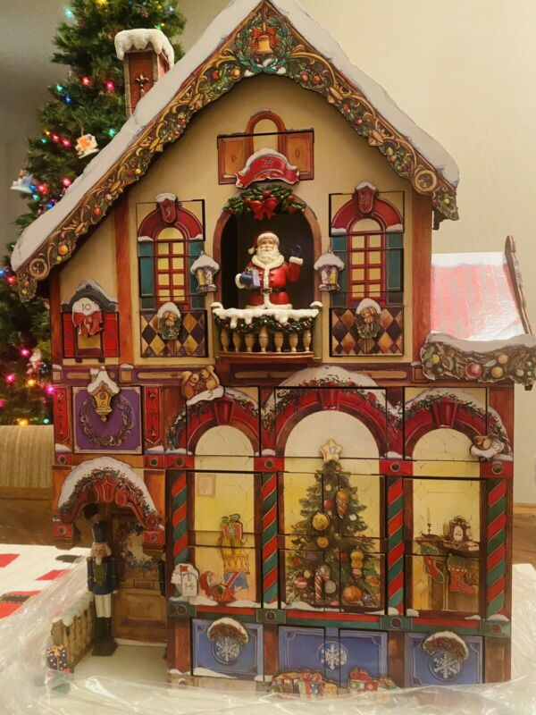 Christmas Advent Calendar Victorian House 24 Doors Costco 663167 Wood with Box