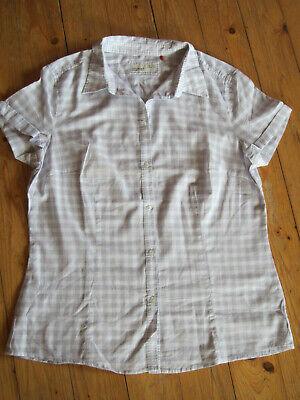ESPRIT Damen Bluse Kurzarm Karo weiß grau Baumwolle Tunika  Gr. 44 wie NEU