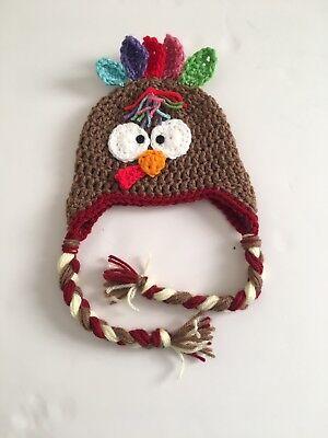Baby Crochet Thanksgiving Turkey Handmade Hat Newborn SoftCap Beanie Gift (0-3m)](Baby Turkey Hat)