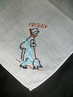 DOW Embroidery Hankie Friday Cleaning Lady Emb Handkerchief Vintage Hanky 1118