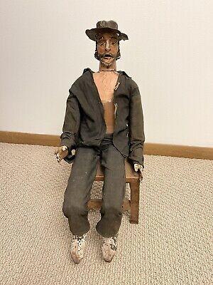 "Primitive Antique Folk Art Jointed Man Doll 24"" W/Chair Hand Carve Wood Cowboy"
