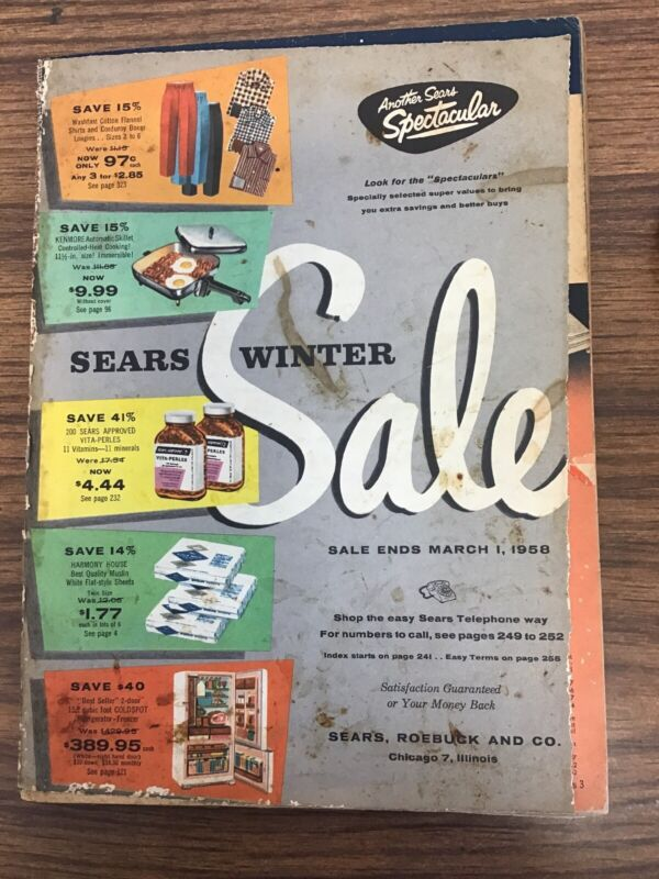 Sears, Roebuck and Co Winter Sale Catalog 1958                     X