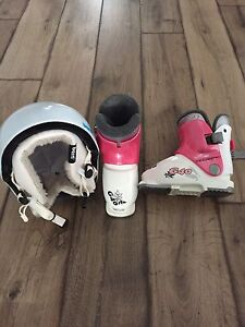 Toddler ski boots and helmet