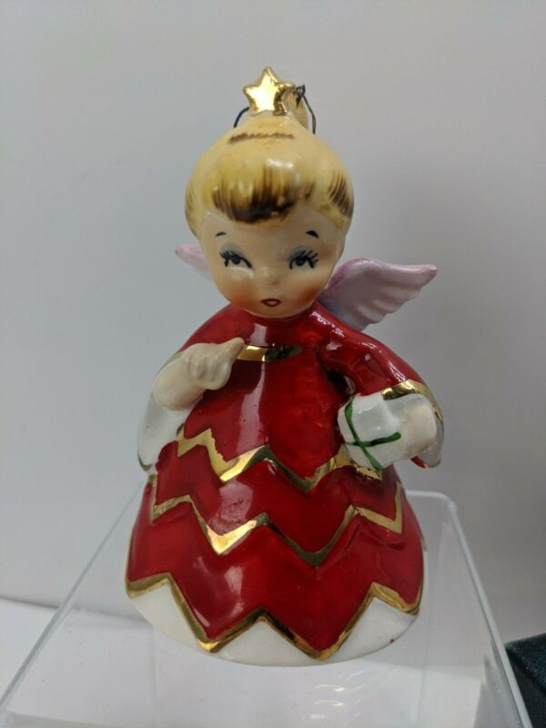 Geo .Z. Lefton 1956 Naughty Christmas Angel Bell Ornament Signed HH80112 JAPAN